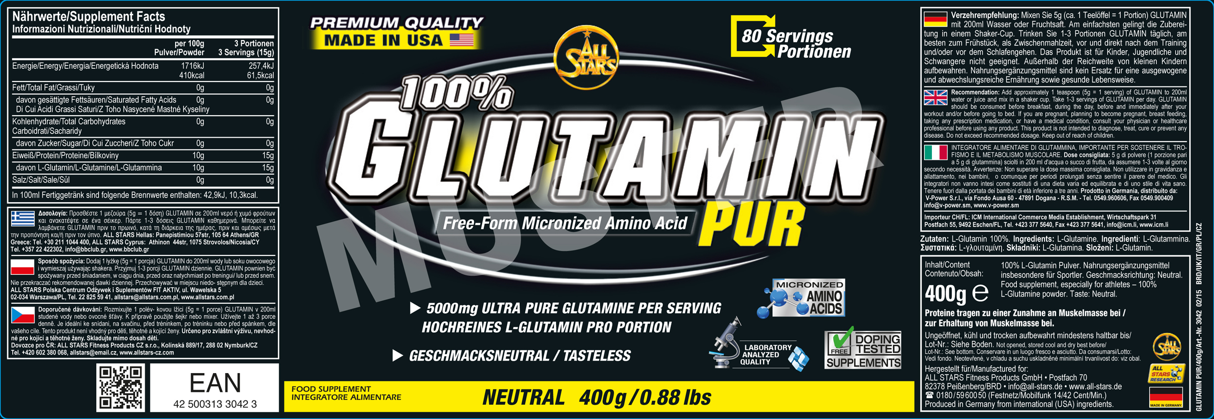All Stars 100% Glutamin Pur Etikett
