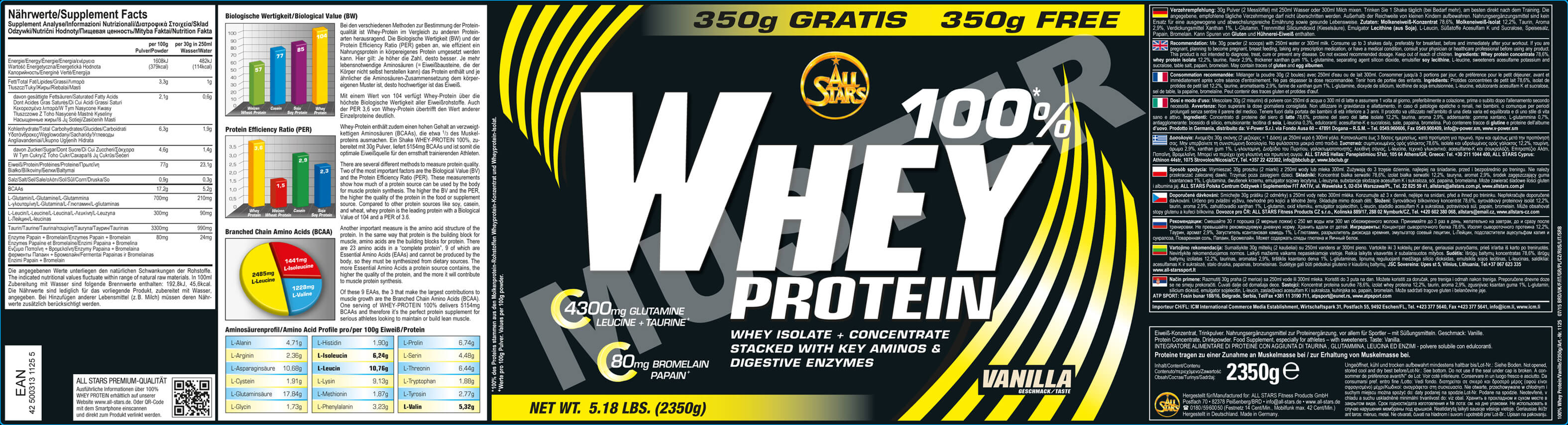 All Stars 100% Whey Protein Etikett
