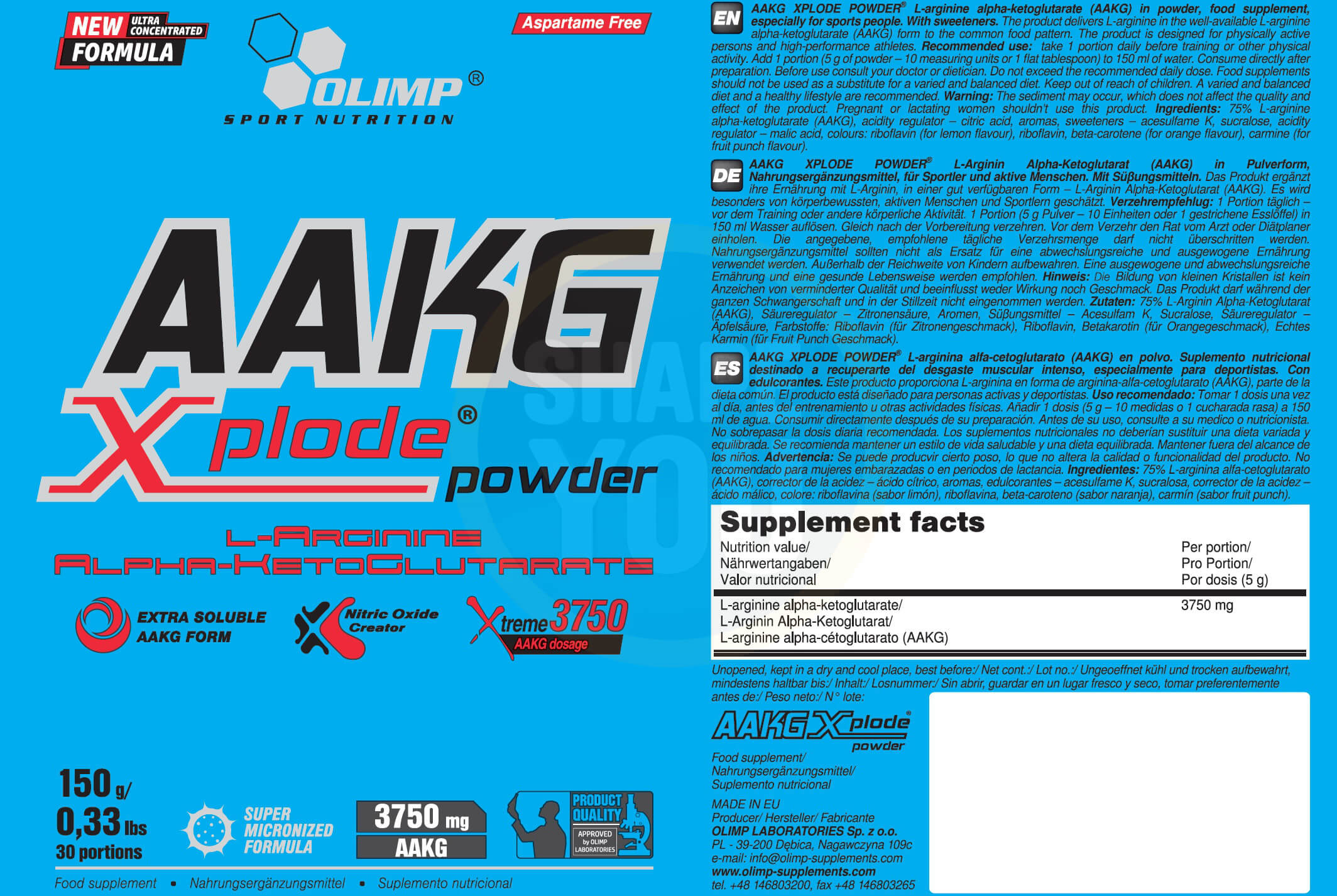 Olimp AAKG Xplode Powder Etikett