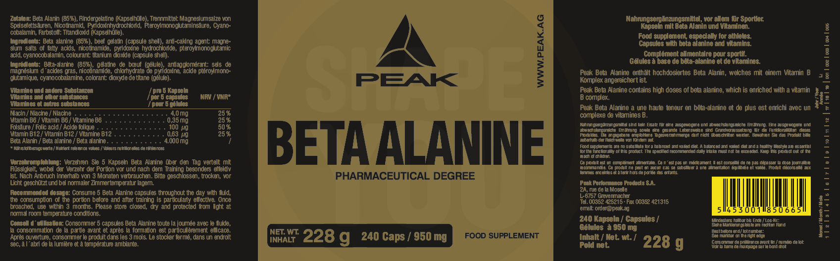 Peak Beta Alanine Etikett