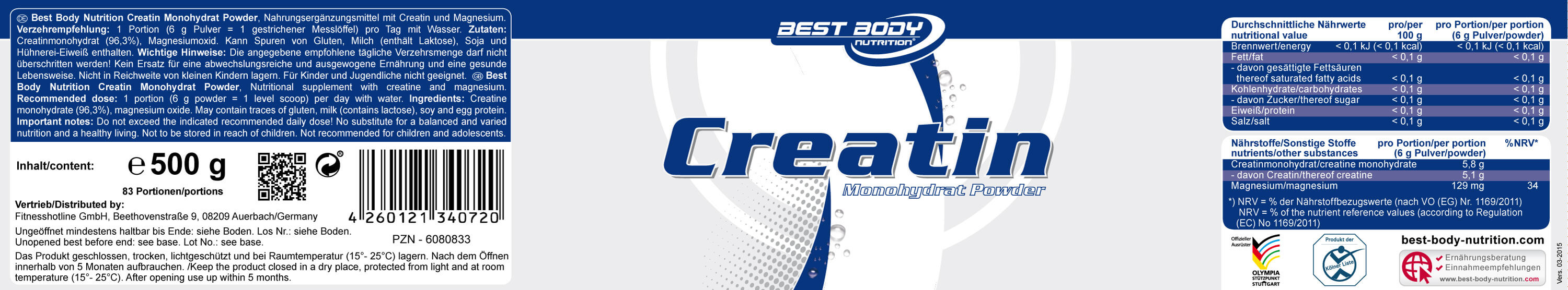 Best Body Nutrition Creatin Monohydrat Powder Etikett