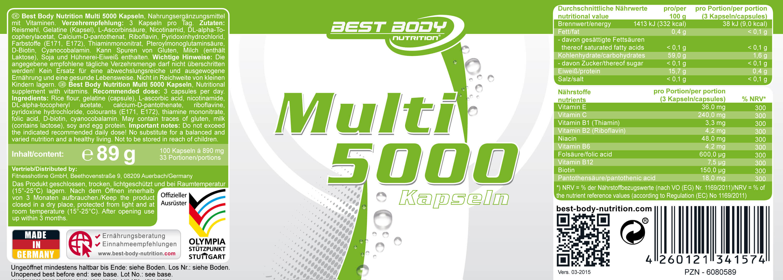 Best Body Nutrition Multi 5000 Etikett