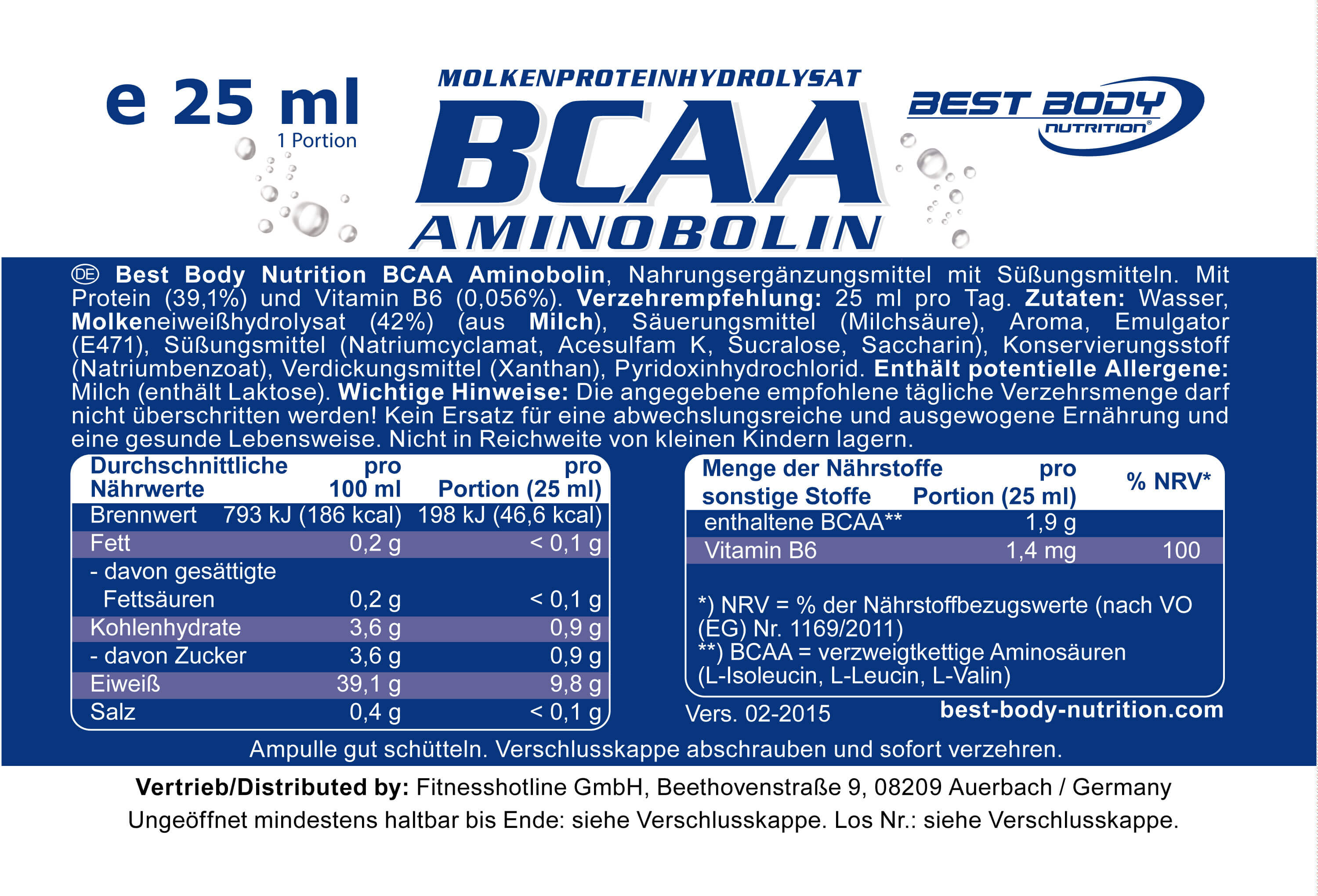Best Body Nutrition BCAA Aminobolin Etikett