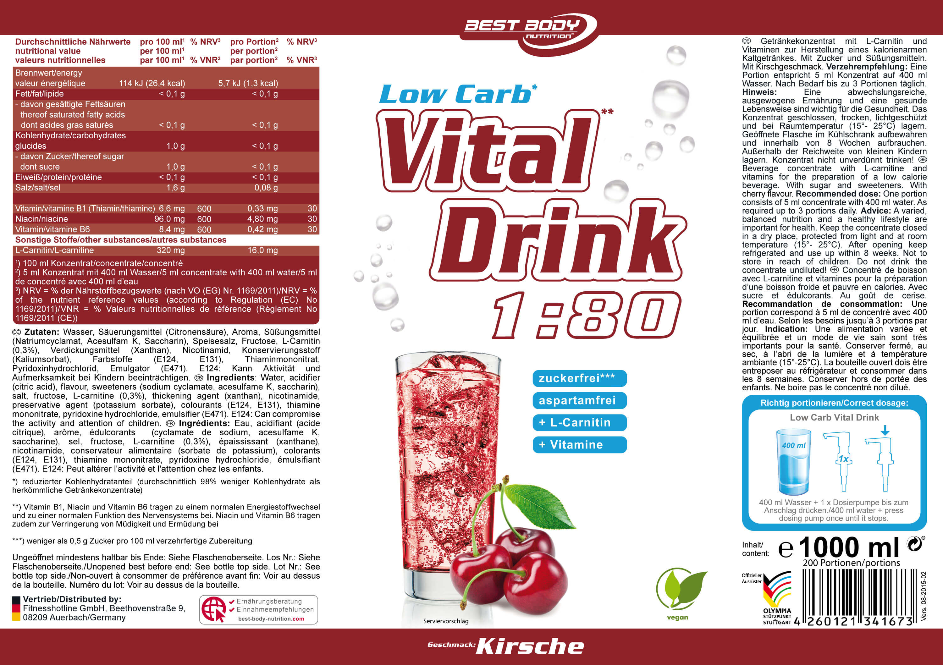 Best Body Nutrition® Low Carb Vital Drink Nährwerte