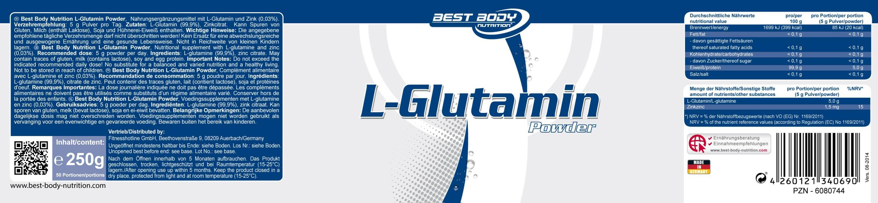 Best Body Nutrition L-Glutamin Pulver Etikett