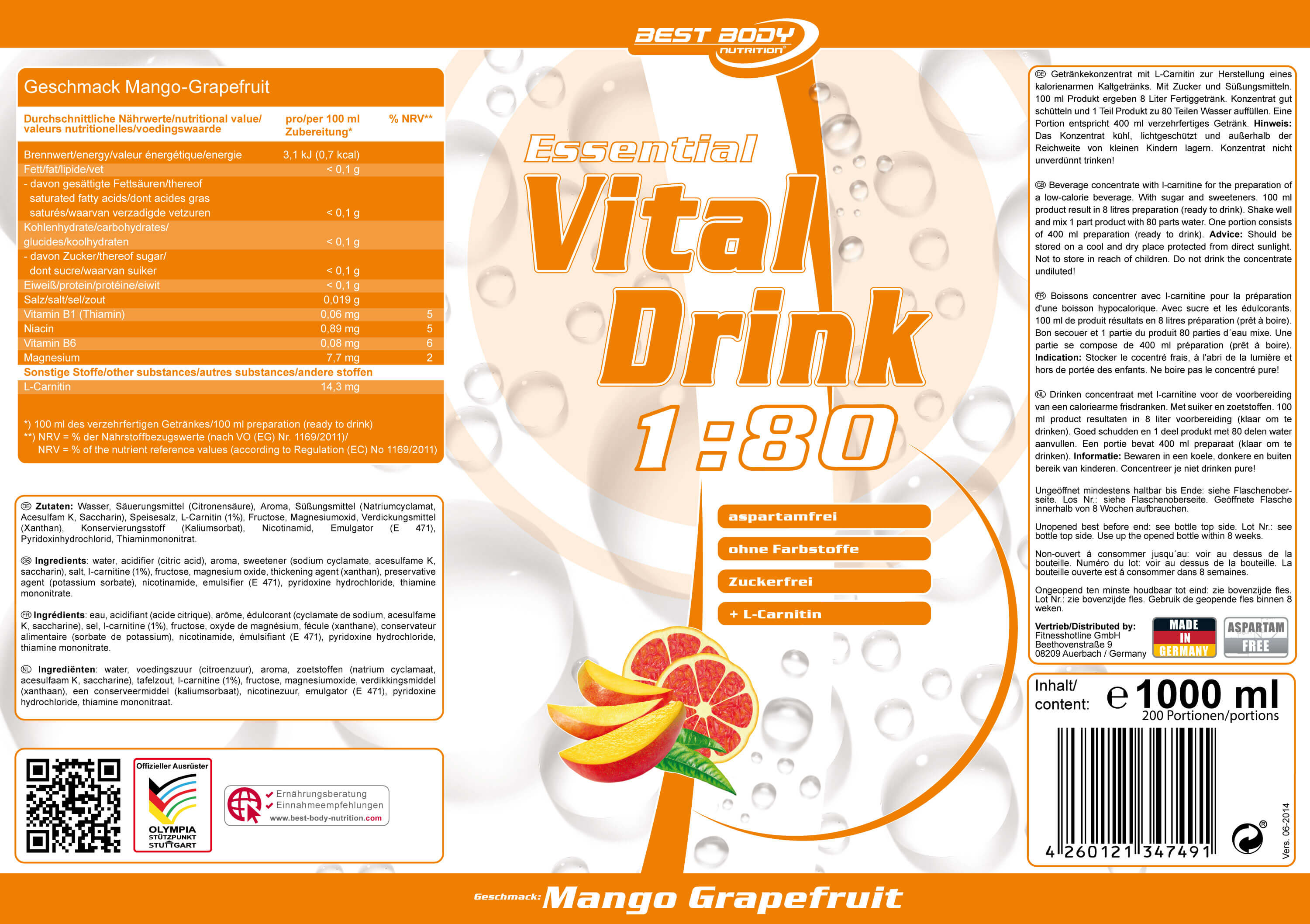 Best Body Nutrition Essential Vital Drink Etikett