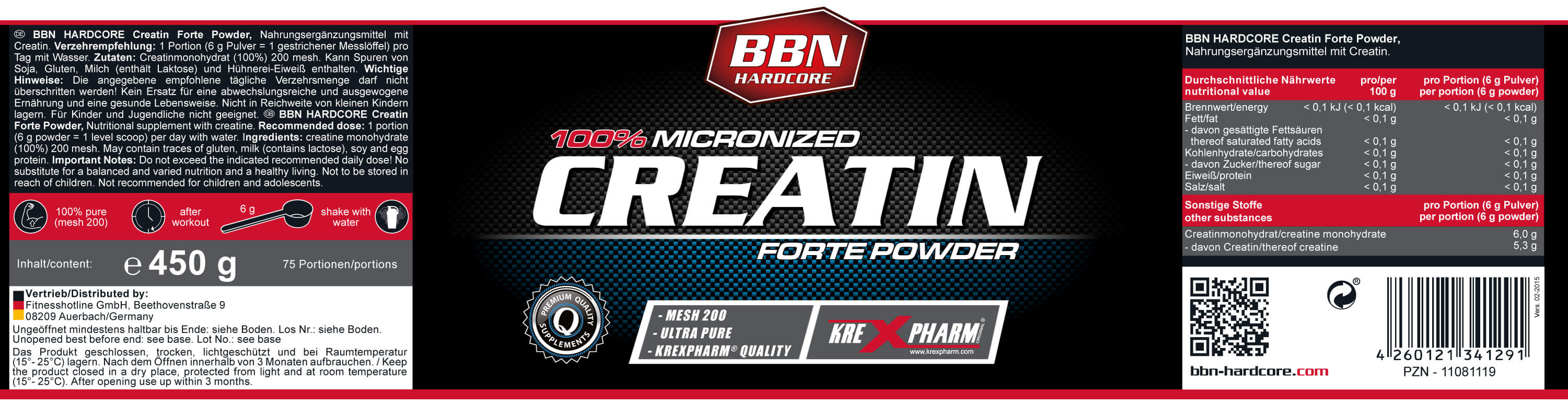 Best Body Nutrition Hardcore Creatin Forte Powder Etikett