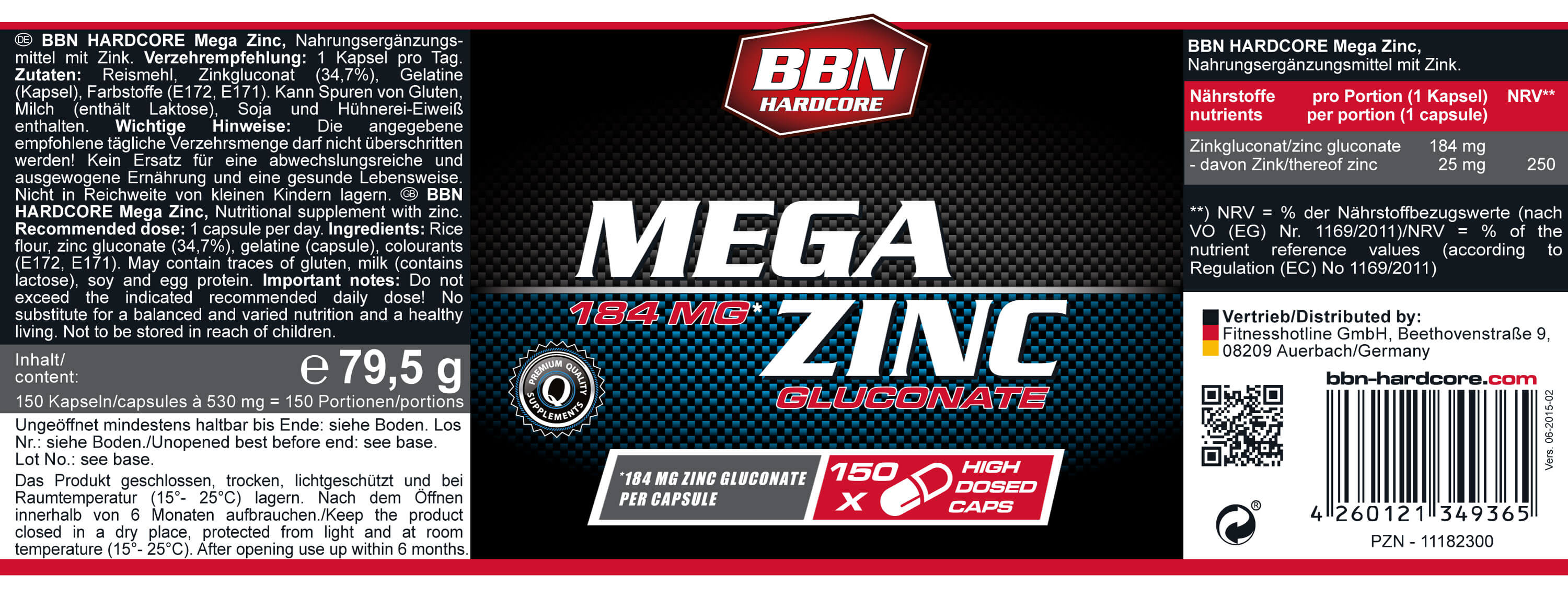 Best Body Nutrition Hardcore Mega Zinc Etikett