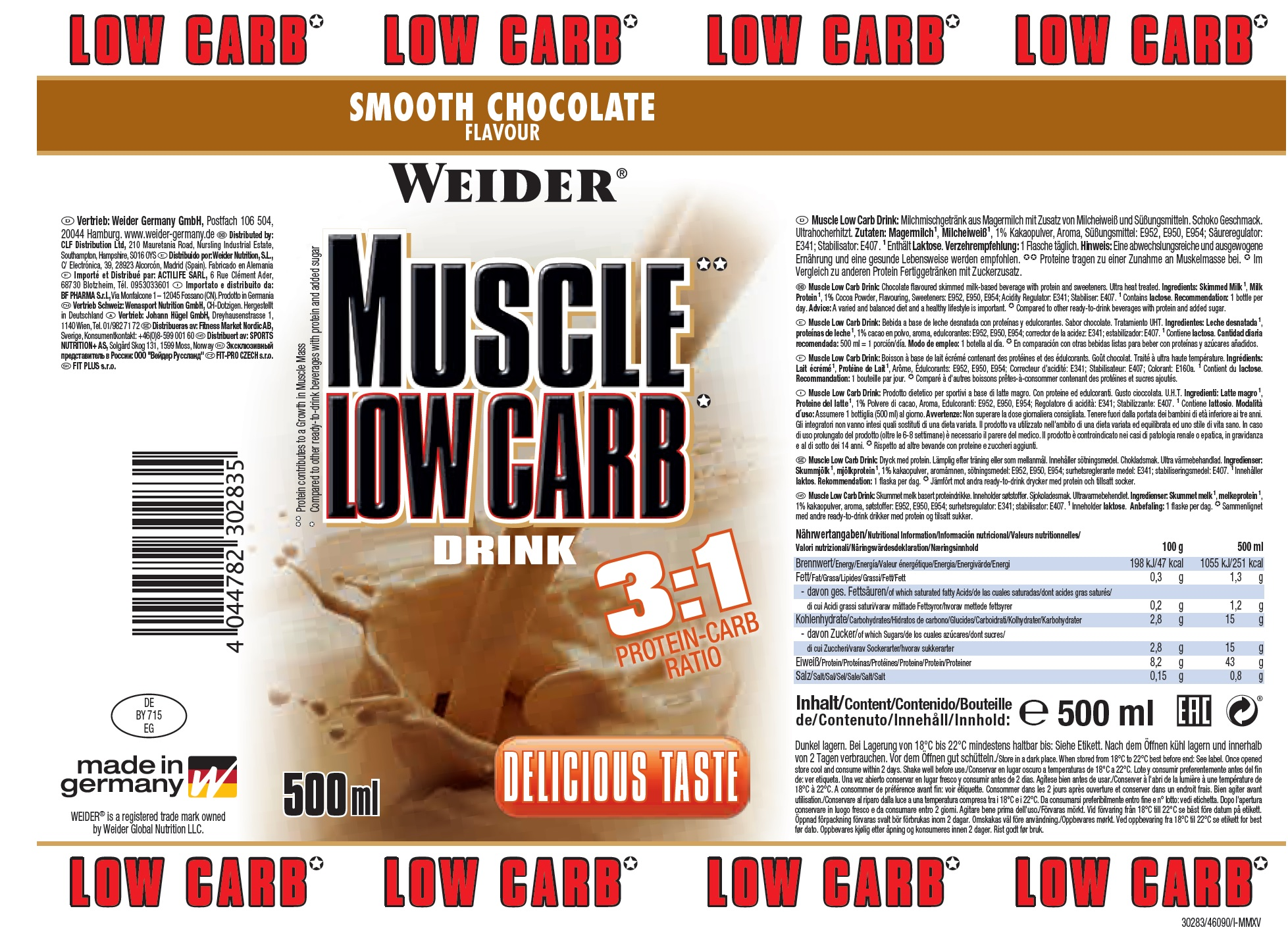 Weider Muscle Low Carb Drink Etikett