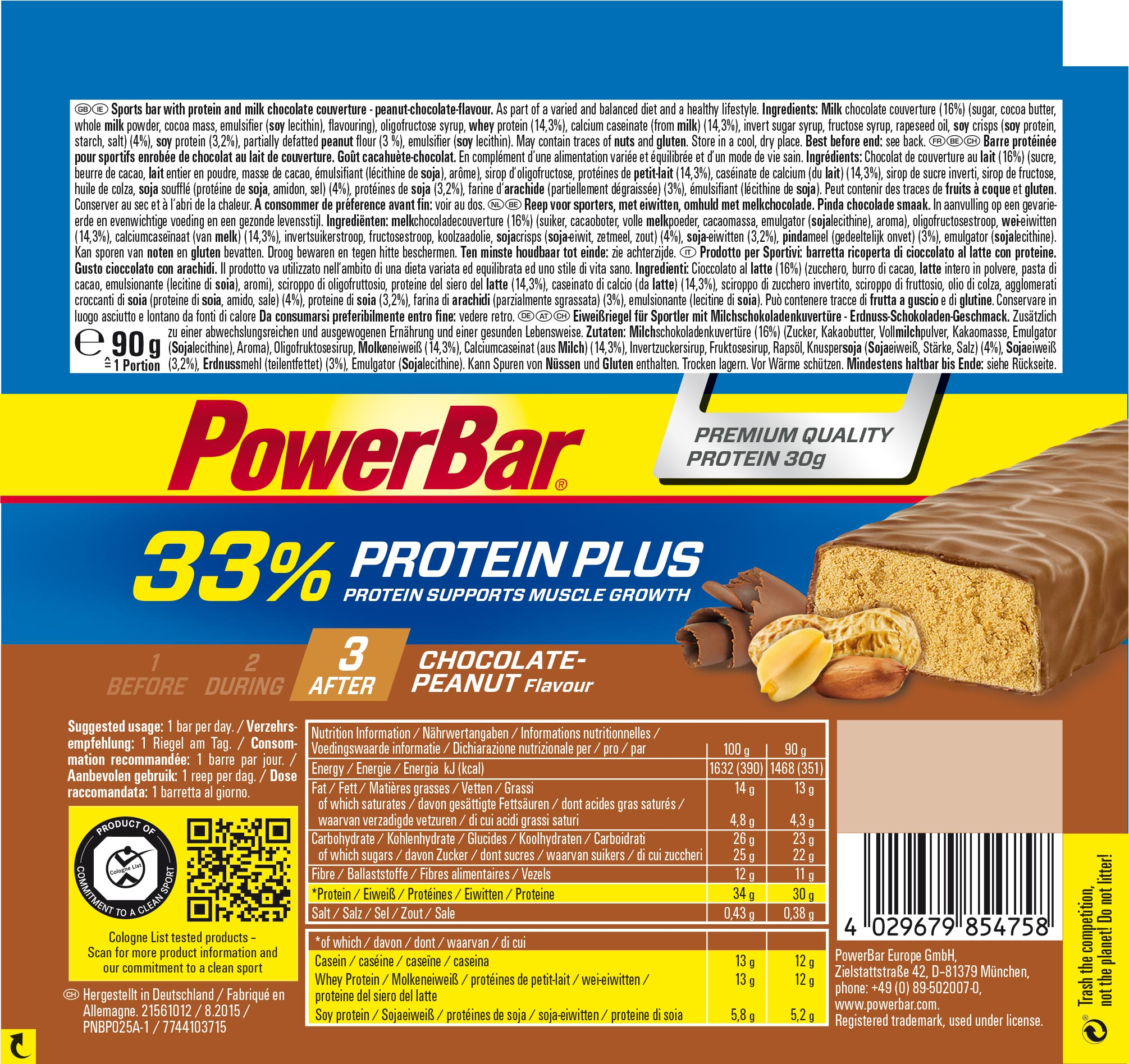 PowerBar Protein Plus 33% Etikett