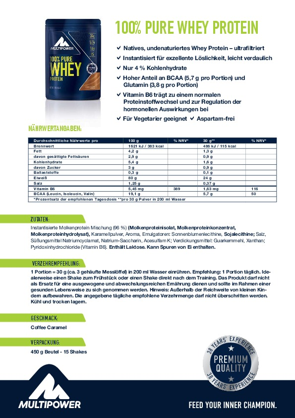 Multipower 100% Pure Whey Protein Etikett