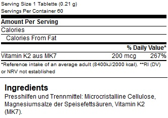 B.A.M. Bodybuilding and More Elite Vitamin K2 Nährwerte